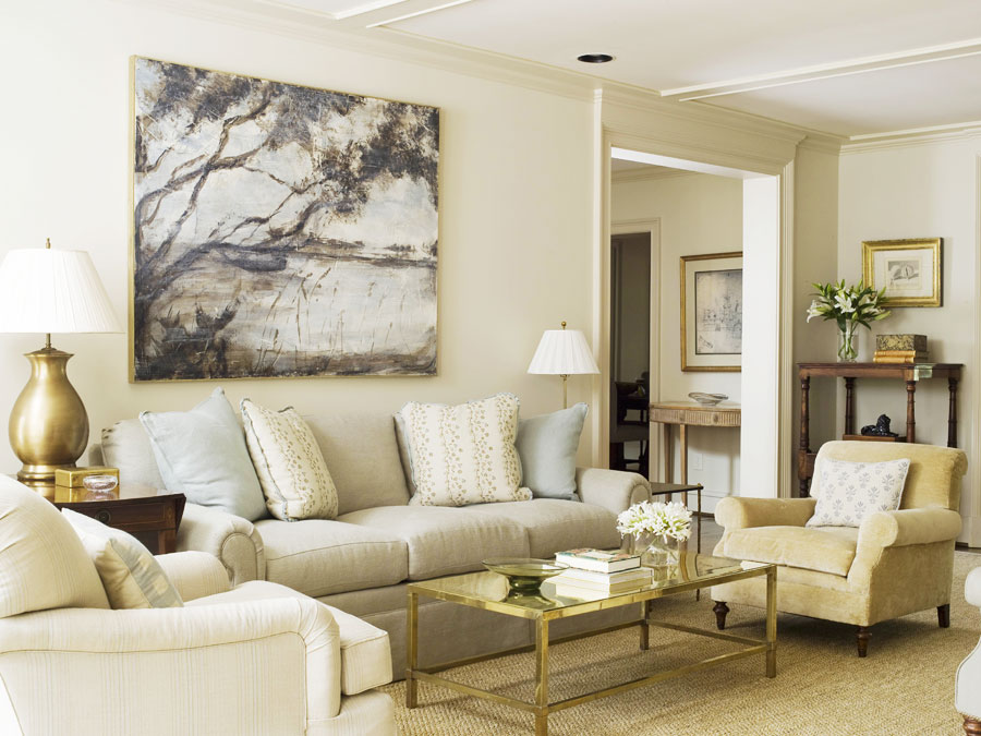 Delightful Living Room Beige