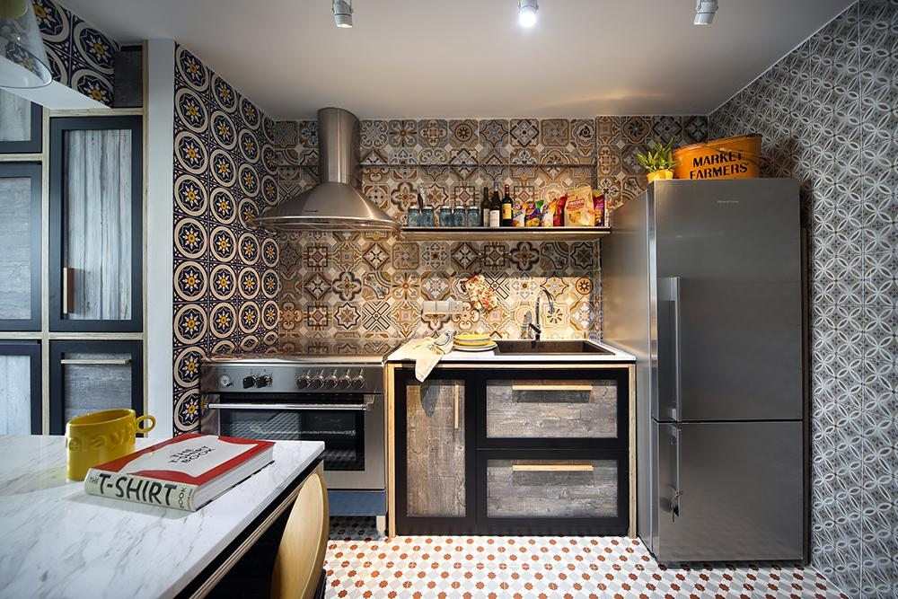 Eclectic interior design with bold patterned tiles in singapore Kitchen backsplash ideas singapore