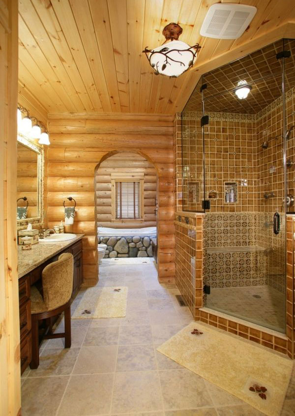 30 warm and cozy log bathroom design ideas for Cabin shower tile ideas