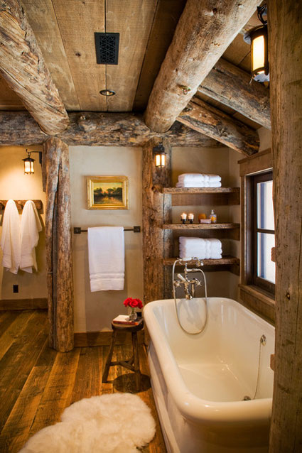 30 warm and cozy log bathroom design ideas for Cabin bathroom ideas