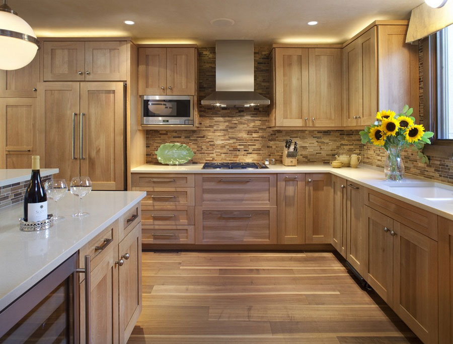 51 warm wooden kitchen designs in modern classic style for Oak kitchen ideas designs