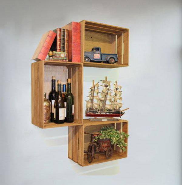 wooden crates bookshelf