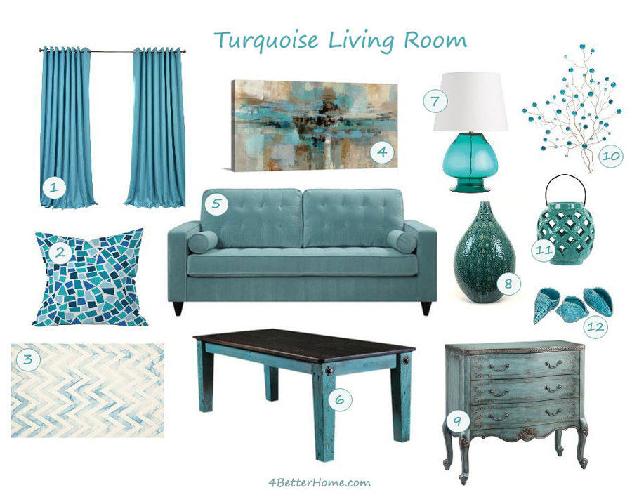 If You Like Turquoise or How to Furnish Turquoise Living Room
