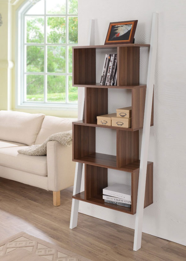 walnut ladder bookcase