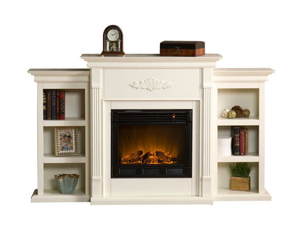 white electric fireplace with bookshelves