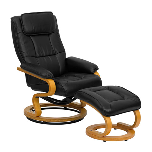 Contemporary Recliner & Ottoman Set with Ball-Bearing Swiveling Base