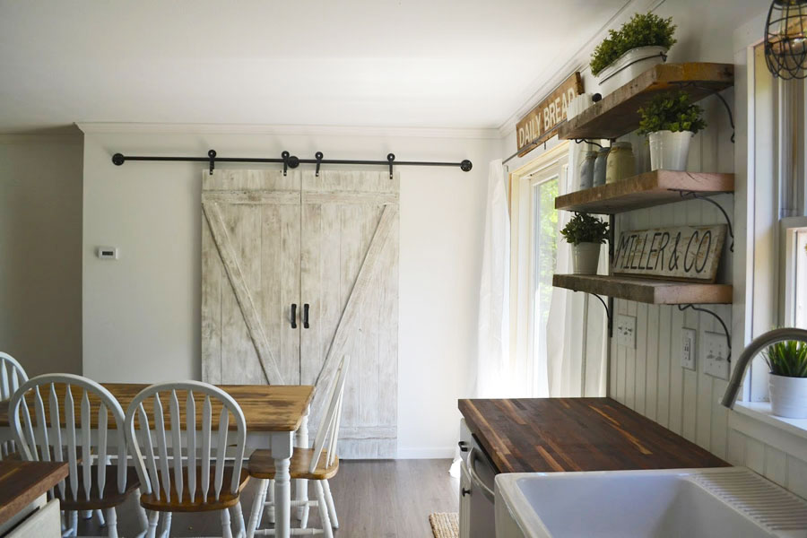 barn doors in white