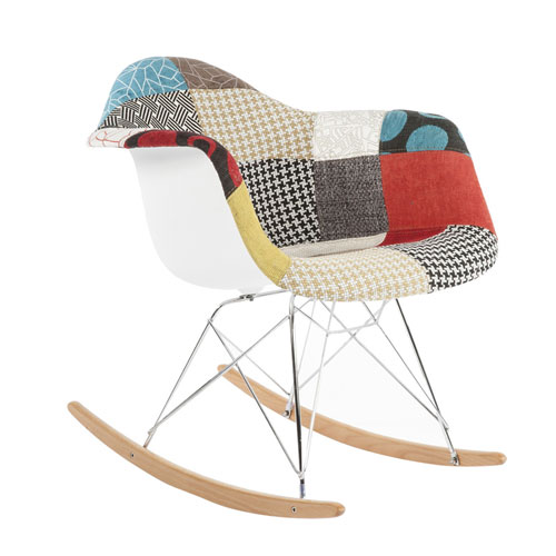 Mid Century Rocking Chair with Patchwork Design