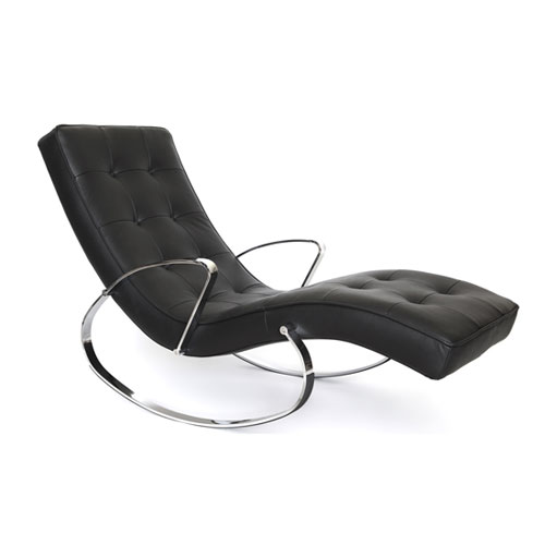 Modern Indoor- Outdoor Chaise Rocker with Chrome Frame