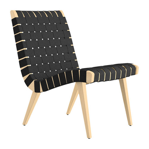Stylish Wood Frame Lounge Chair by Knoll