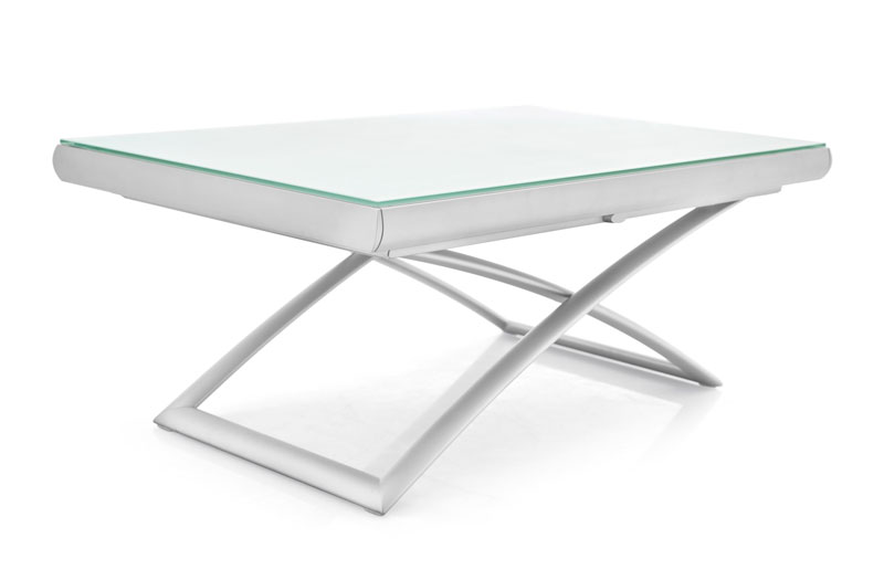 Dakota coffee table with glass top in white