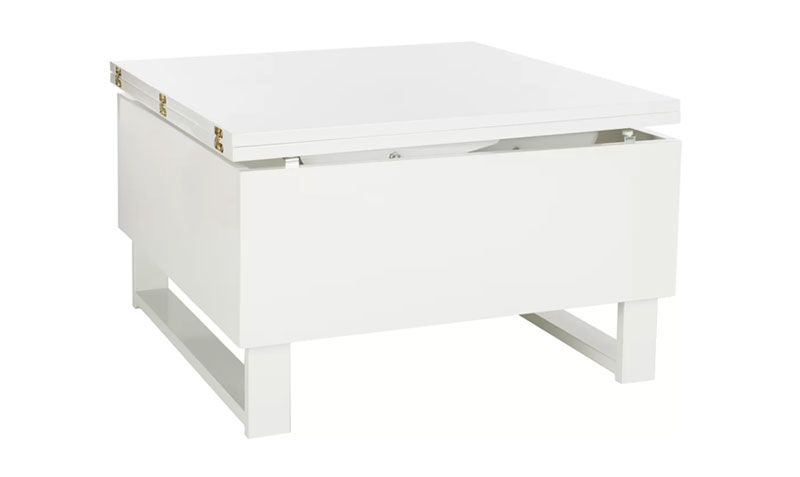 convertible coffee table with storage in white