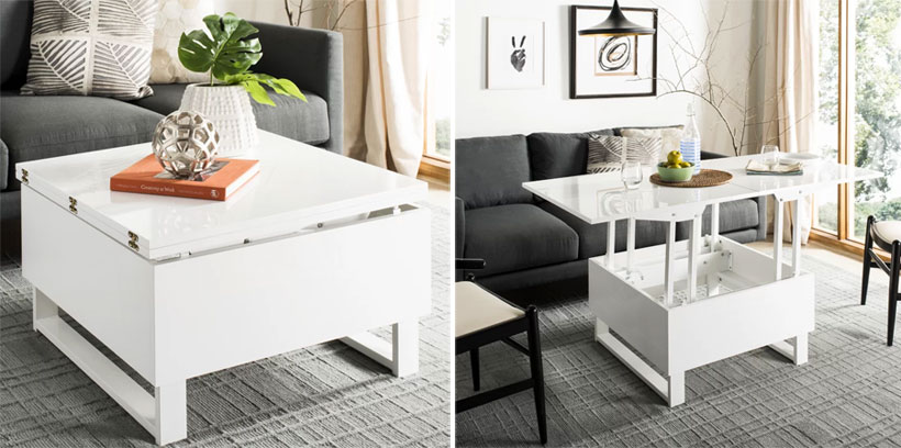 square size white convertible coffee table