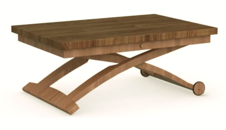 wood coffee table expandable into dining table