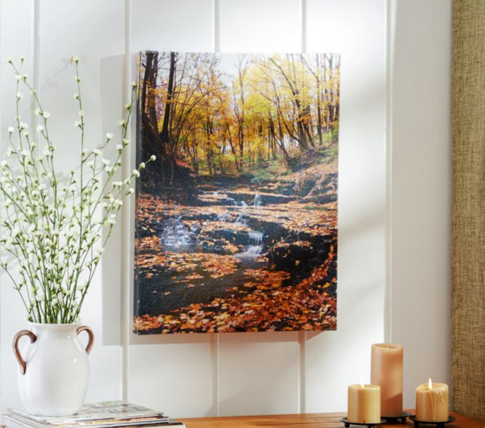lakeview autumn falls print canvas