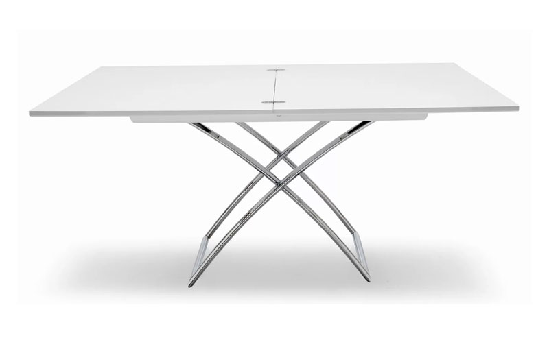 white coffee table with metal legs