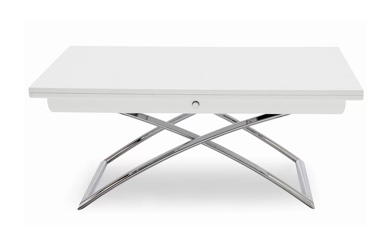 Magic J coffee table with metal legs in white