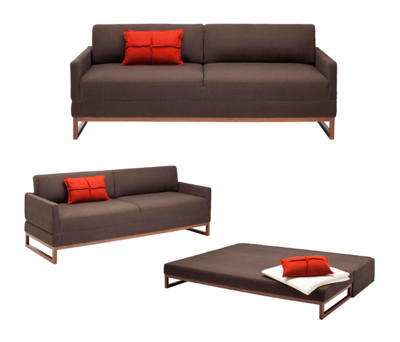 convertible queen sized sofa bed with flip top mechanism from blu dot