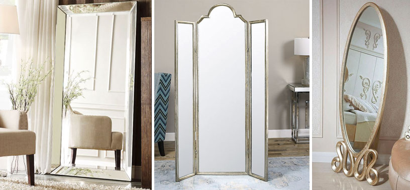 Floor mirrors andre rectangle floor mirror delano black for Small long mirrors