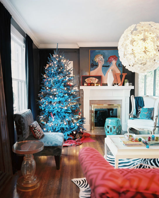 blue red christmas living room