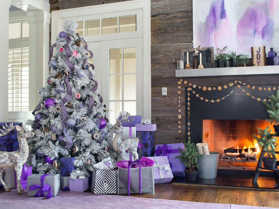 purple christmas living room