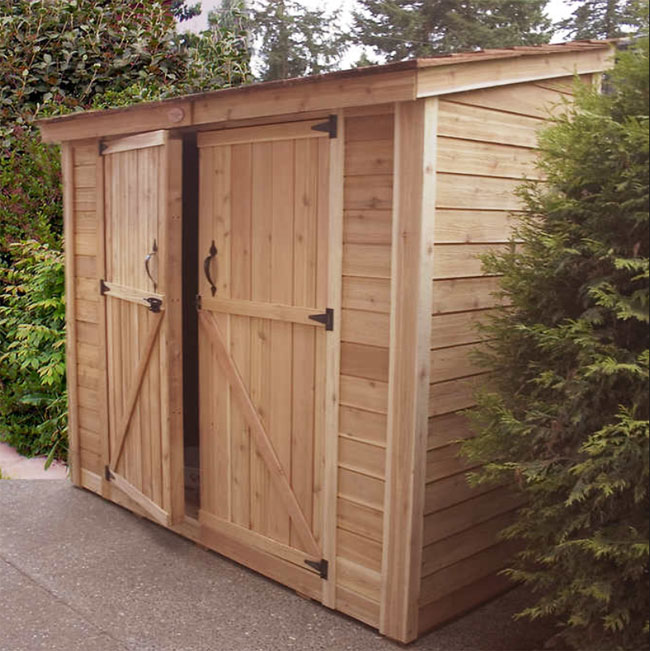 double door wooden bicycle storage shed