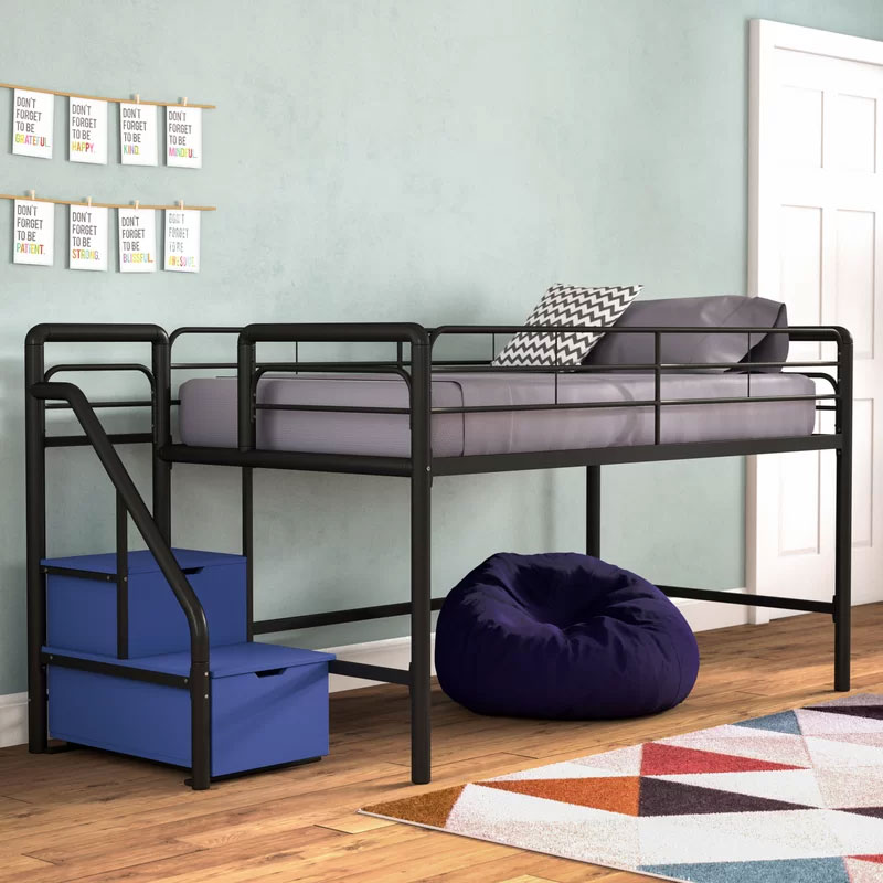 durable metal frame loft bed with storage stairs