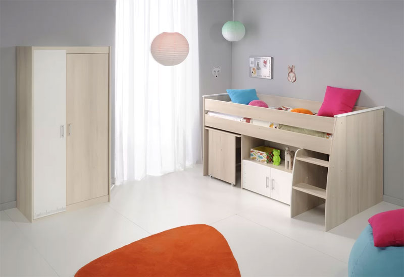 low height loft bed and wardrobe set