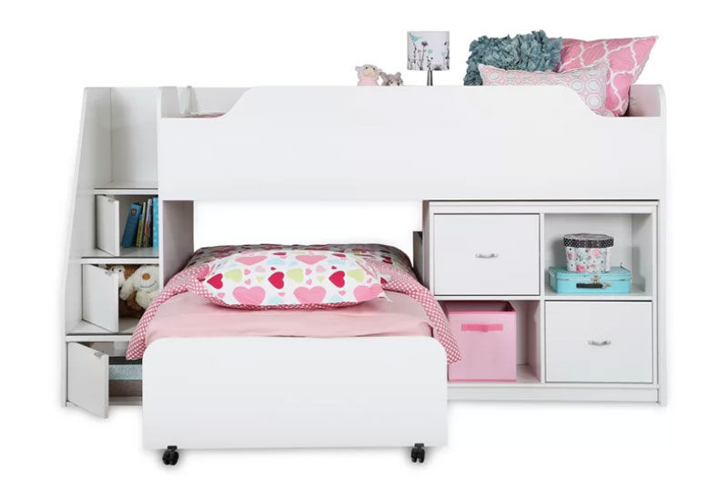 low profile loft bed with built-in ladder