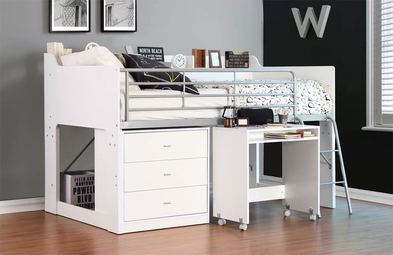 metal frame low loft bed with desk and storage