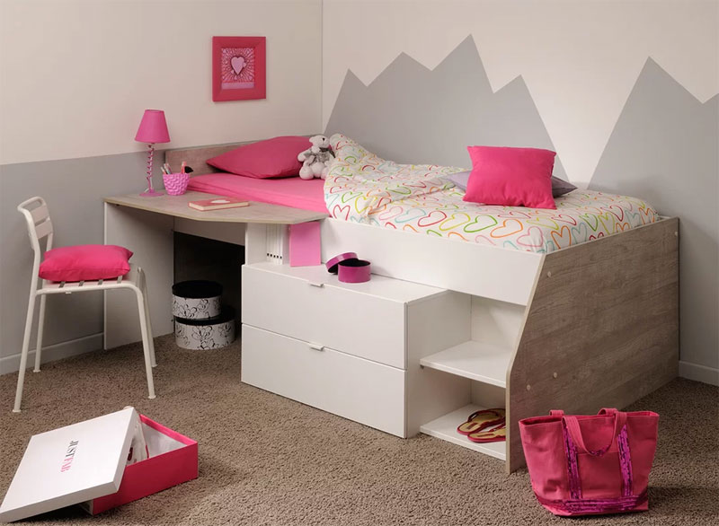modern low loft bed with drawers