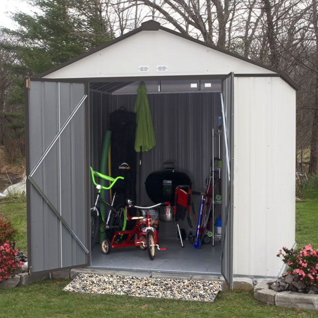 simple and secure metal storage shed