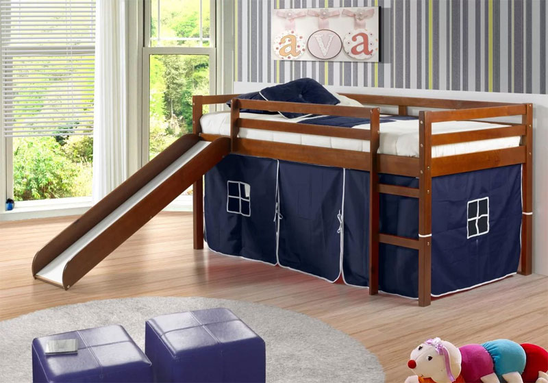 twin low loft bed with slide and tent