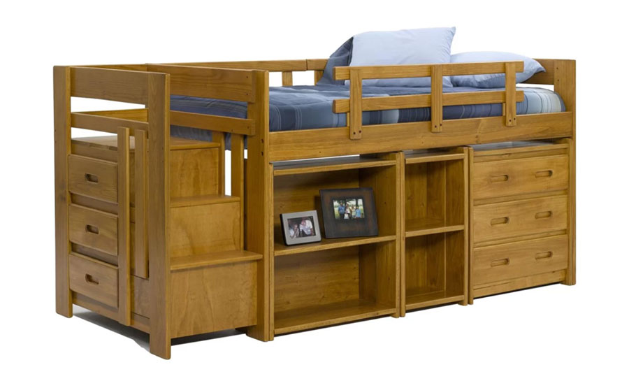 twin low loft bed with staircase and storage