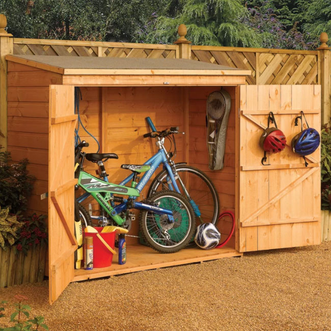 wooden bicycle storage shed