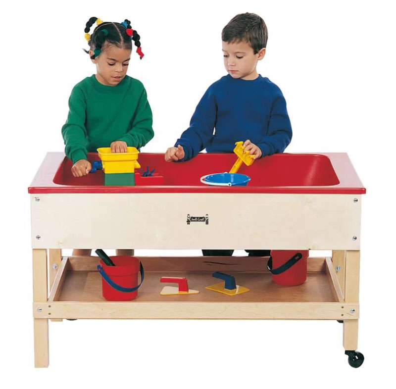 sand water table with shelf