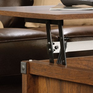 classic cherry finish lift-top coffee table with shelf and inside storage