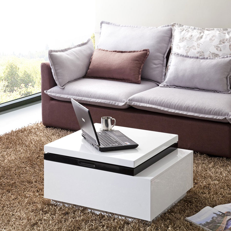 Coffee Table White Gloss Black Glass Top Coffee Table: Smart Lift-Top Coffee Table Solutions In Modern And