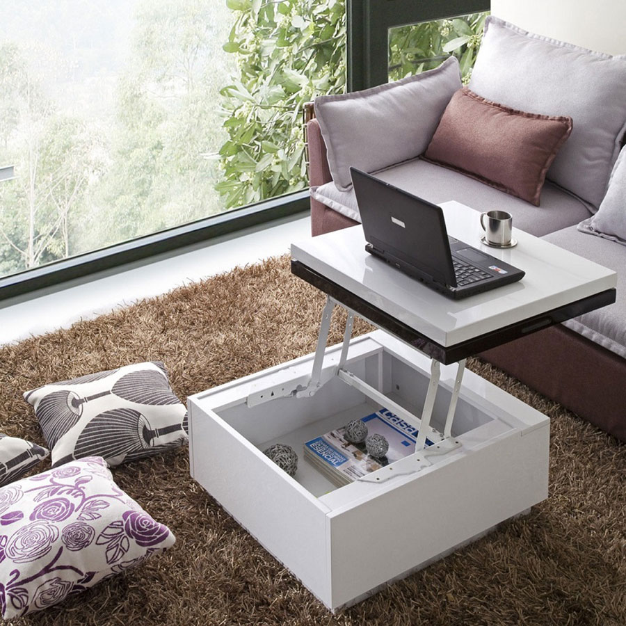Charmant Contemporary Glass And Polished Chrome Lift Top Coffee Table