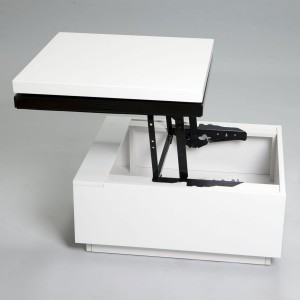 compact high gloss white and black lift-top coffee table