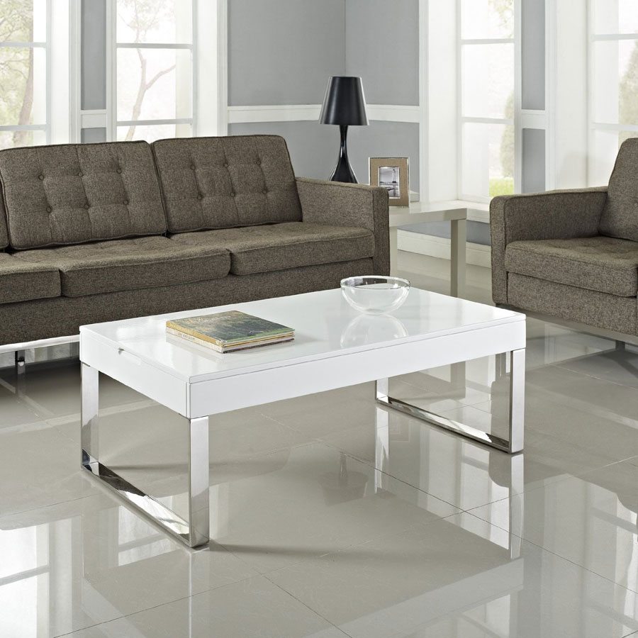 Contemporary Glass And Polished Chrome Lift Top Coffee Table