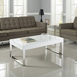contemporary glass and polished chrome lift-top coffee table