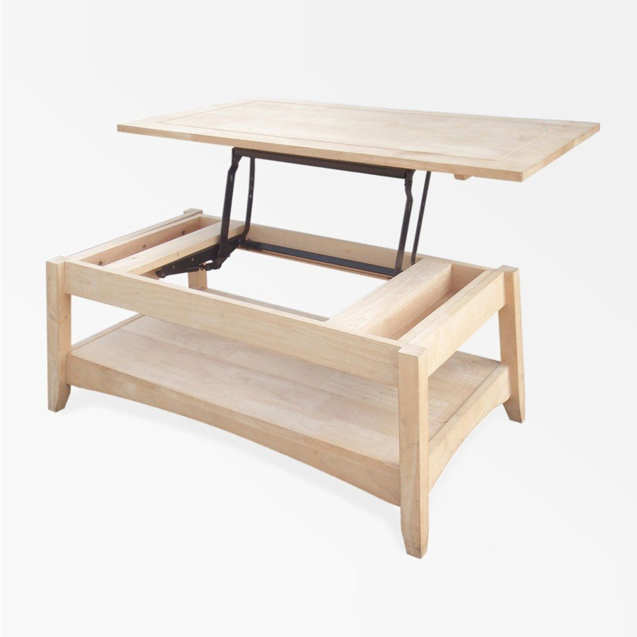 Eco Friendly Unfinished Para Wood Coffee Table Converts To Desk