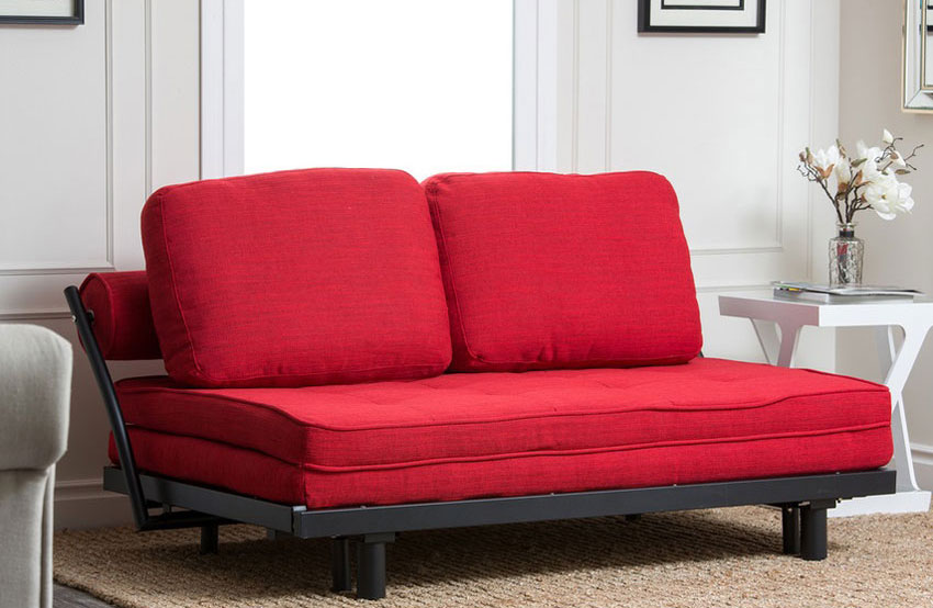 Germana Wood Linen sofa bed with clean, contemporary lines