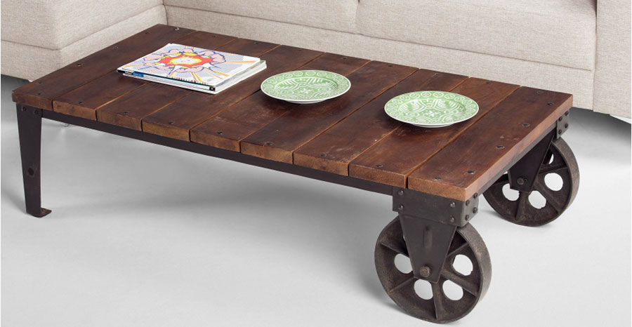 HUMPHREY U2013 Industrial Coffee Table In Wood And Antique Gunmetal (£ 239)