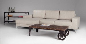 industrial coffee table in wood and antique gunmetal