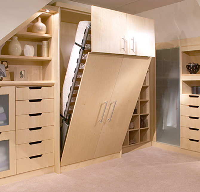 wall bed with wardrobe and storage