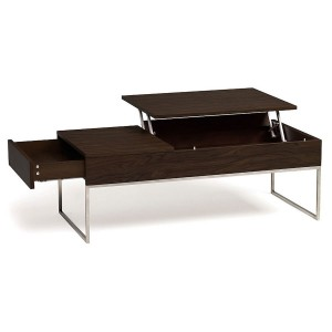 multifunctional walnut lift-top coffee table with drawer
