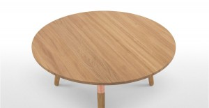 range round coffee table in oak and copper