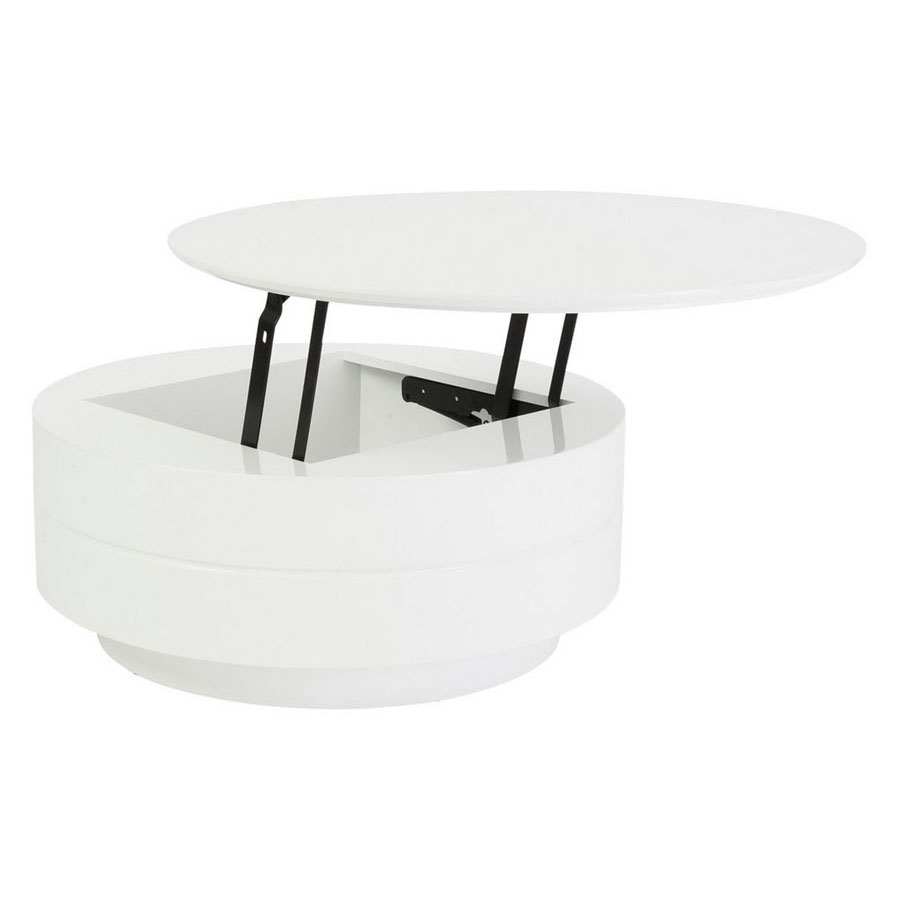 Rounded White High Gloss Coffee Table To Desk With Storage